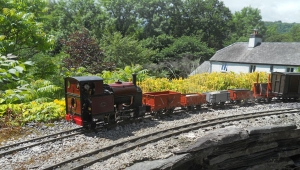 Tim Wilkinson's Corris No. 4 (built by Steve Acton) and train, on the Wigfa and Llanrwst Light Railway - Richard Huss -